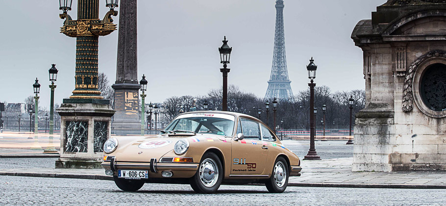 "The Porsche 911 ""Around the World"" visiting in France, Paris."