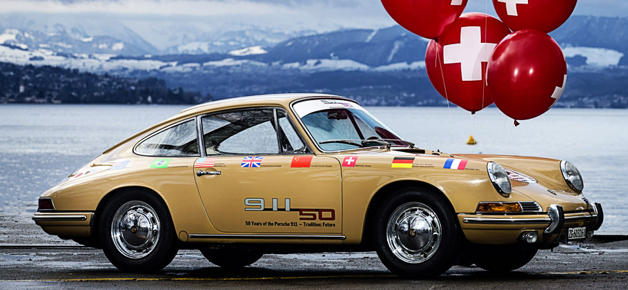 "The Porsche 911 ""Around the World"" visiting in Switzerland."