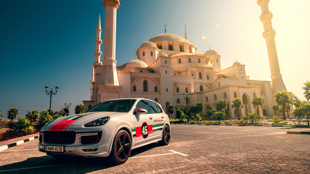 Porsche In Fujairah, at Sheikh-Zayed Mosque