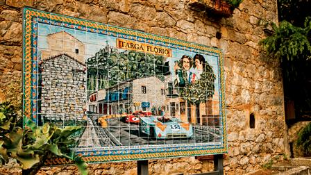 Mosaic in front of the Museo Targa Florio in Collesano