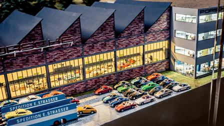 Model of the Porsche factory in Zuffenhausen
