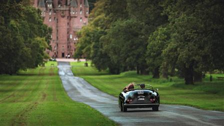Porsche 356 Speedster in front of Glamis Castle in Scotland