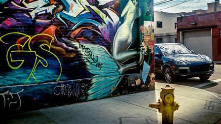 Porsche Cayenne in the Arts District in L.A.