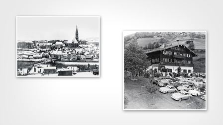 (l.) Steyr (1929), (r.) The Schüttgut of the Porsche family in Zell am See