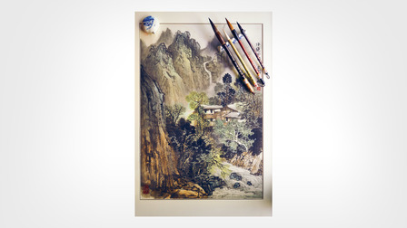 Porsche Painting of the Huangshan mountains