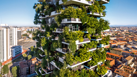 High-rise complex Bosco Verticale in Milan, Italy