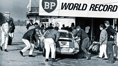 The Porsche 911 R during a pit stop, 1967