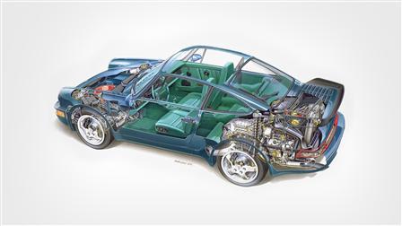 Phantomzeichnung vom Porsche 911 Turbo 3,3 Coupé, Mj. 1989