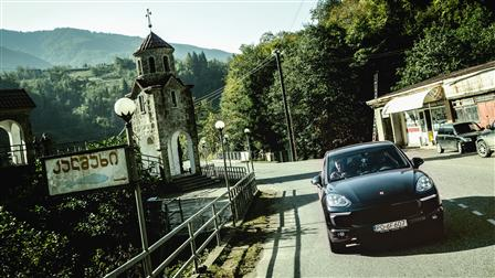Porsche Cayenne S in Georgian mountain village