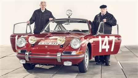 Former Race-Car Driver Peter Falk (left) and Herbert Linge, Monte-Carlo 911 of 1965