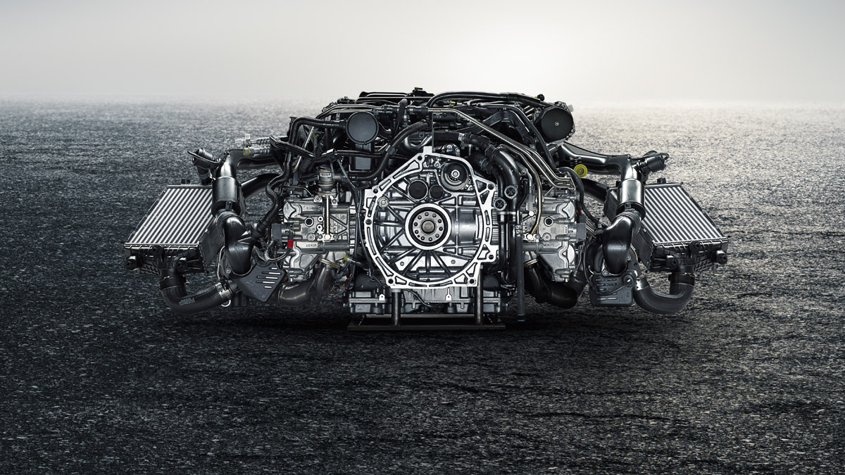Porsche - The engine: 3.8-litre, twin-turbo six-cylinder engine at the rear