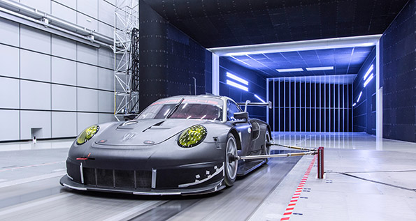 The 911 RSR in the wind tunnel at Weissach