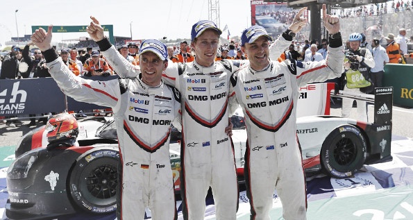 Porsche LMP Team: Hartley, Bernhard, Bamber